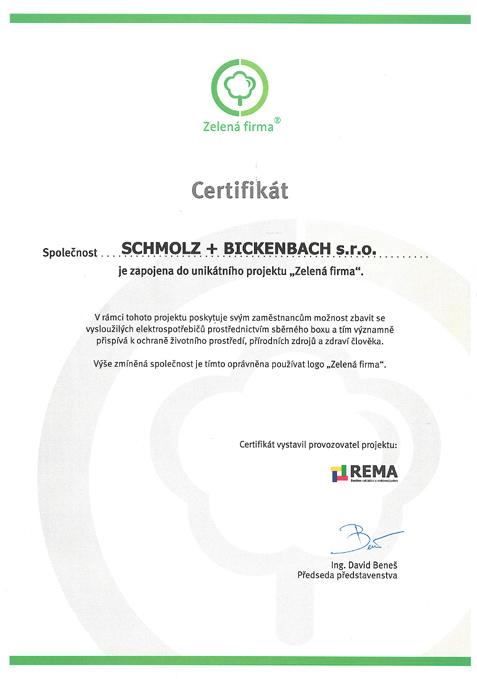 Certifikát ZELENÁ FIRMA