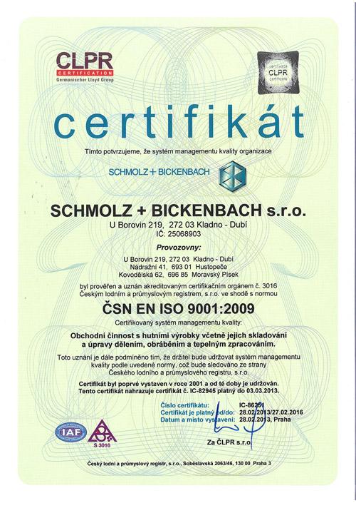 Certifikát ČSN EN ISO 9001